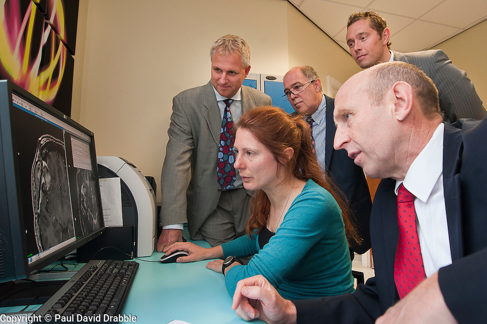 John Healey MP Member for Wentworth  Dearne (right) with left to right Neuro Surgeon Matt Radtz, BMI Health Manager Karen Moxam, Neuro Surgeon Andras Kemeny and Paul Laycock during his Visit to Thornbury Medical Centre Gamma Knife Radio Therapy system..17th October 2011. Image © Paul David Drabble