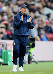 "Middlesbrough manager Tony Pulis during the FA Cup, third round match at the Riverside Stadium, Middlesbrough.PRESS ASSOCIATION Photo. Picture date: Saturday January 6, 2018. See PA story SOCCER Middlesbrough. Photo credit should read: Richard Sellers/PA Wire. RESTRICTIONS: EDITORIAL USE ONLY No use with unauthorised audio, video, data, fixture lists, club/league logos or ""live"" services. Online in-match use limited to 75 images, no video emulation. No use in betting, games or single club/league/player publications."