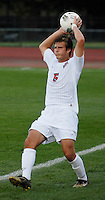 Ohio State defender Sage Gardner (5) throws the ball in as OSU takes on Binghamton in the first half of an NCAA men's college soccer game in Columbus, Ohio on Sunday, Sept. 11, 2011, at Jesse Owens Memorial Stadium.