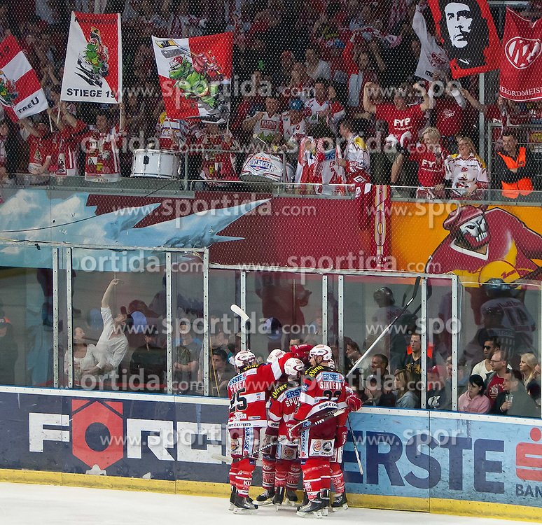 03.04.2011, Volksgarten Arena, Salzburg, AUT, EBEL, FINALE, EC RED BULL SALZBURG vs EC KAC, im Bild Torjubel KAC nach dem 2 zu 3 Führung durch // during the EBEL Eishockey Final, EC RED BULL SALZBURG vs EC KAC at the Volksgarten Arena, Salzburg, 04/03/2011, EXPA Pictures © 2011, PhotoCredit: EXPA/ J. Feichter