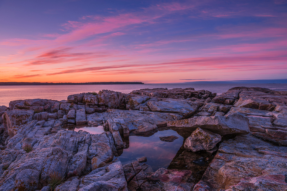 Reflections in rocky tidepool and dawn color in sky, Acadia National Park, Southwest Harbor, ME