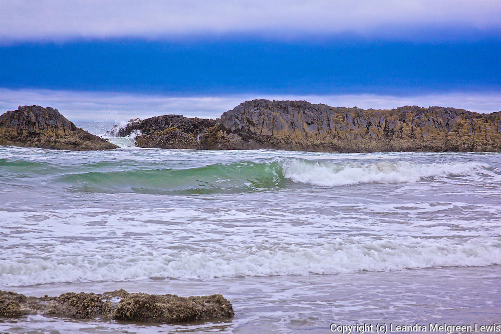 Landscape photo of ocean waves  rolling into shore along the Oregon Coast near Yahats .