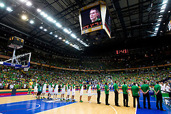 Players of Lithuania during basketball game between National basketball teams of Lithuania and France at FIBA Europe Eurobasket Lithuania 2011, on September 9, 2011, in Siemens Arena,  Vilnius, Lithuania. France defeated Lithuania 73-67.  (Photo by Vid Ponikvar / Sportida)