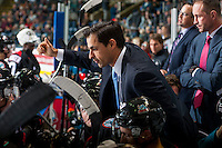 KELOWNA, CANADA - OCTOBER 21: Kelowna Rockets' assistant coach, Travis Crickard stands on the bench against the Tri-City Americans on October 21, 2016 at Prospera Place in Kelowna, British Columbia, Canada.  (Photo by Marissa Baecker/Shoot the Breeze)  *** Local Caption ***
