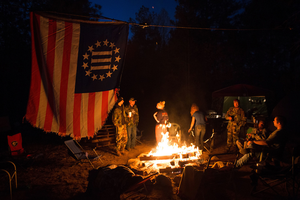 Militia members from the several states, all of whom identify as part of the III% movement, gather near Jackson, Ga. on Saturday, Oct. 29, 2016 for training exercises. Photo by Kevin D. Liles for The New York Times