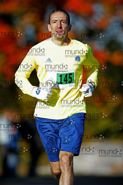 """(Ottawa (Cumberland), Ontario -- 11 Oct 2009)  competes in the 2009 Ottawa Fall Colours Marathon in Cumberland. [Photo credit should read """"Sean Burges / Mundo Sport Images""""]"""