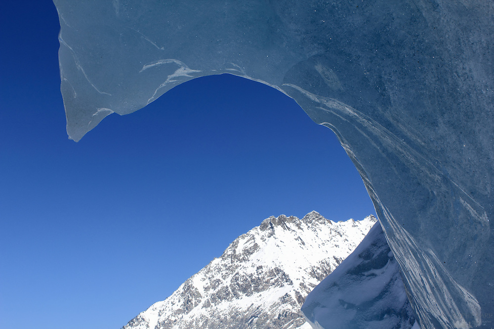 View from the entrance of the Grotte de Glace (Ice Cave), cut into the Mer de Glace glacier that pours down from Mont Blanc.
