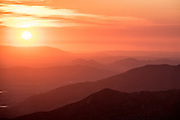 Looking west at sunset over the mountains from Idyllwild, California.