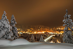 """Downtown Truckee 34"" - Photograph of a snowy historic Downtown Truckee, shot in the early morning just before sunrise after a big snow storm."