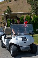 KELOWNA, CANADA - JULY 21: Brodan Salmond drives a golf cart at the Kelowna Rockets Alumni golf tournament at Black Mountain Golf Club in Kelowna, British Columbia, Canada.  (Photo by Marissa Baecker/Shoot the Breeze)  *** Local Caption ***