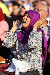 June 25, 2018 - Cairo, Egypt - Egyptian soccer fans react as they watch the FIFA World Cup 2018 group A preliminary round soccer match between Egypt and Saudia Arabia in downtown Cairo, Egypt, on 25 June 2018. (Credit Image: © Ahmed Awaad/NurPhoto via ZUMA Press)