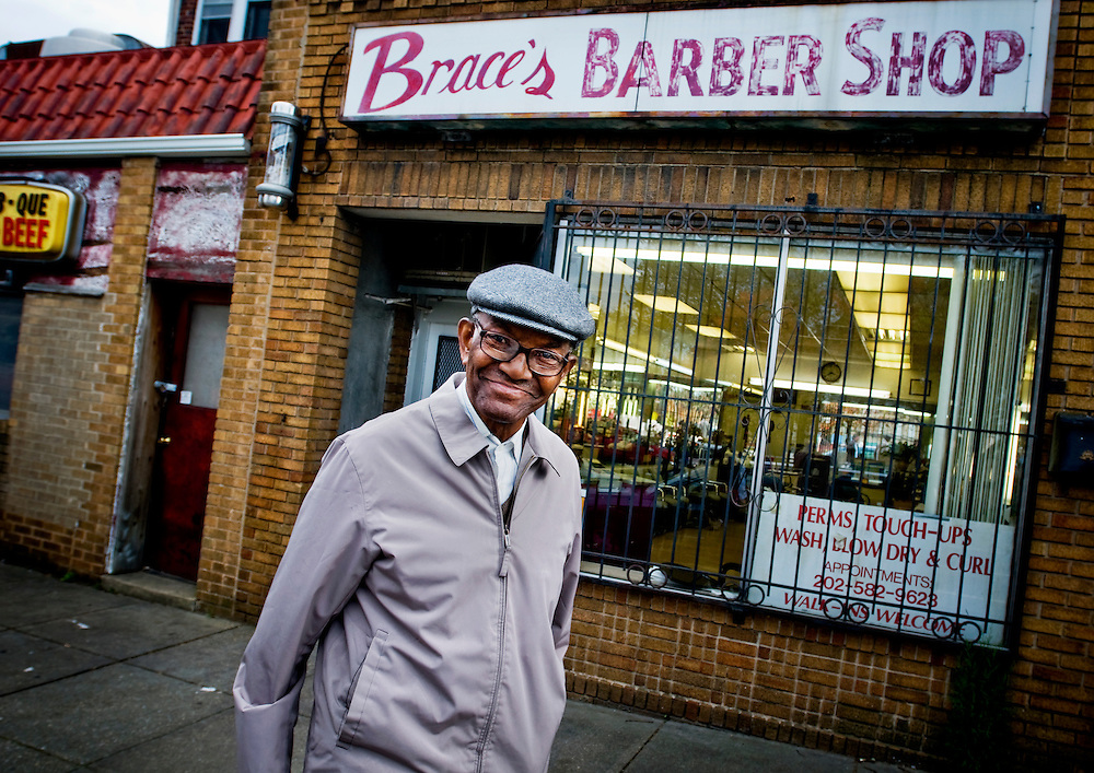 Black voters in the Washington DC neighborhood Anacostia..Henry Hampton, 88, a regular customer at  Brace's Barber shop. Henry is 88 and drove a cab in DC for 49 years and supports Obama..Photographer: Chris Maluszynski /MOMENT