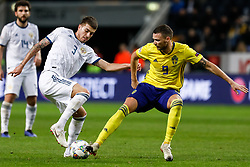 November 21, 2018 - Stockholm, Sweden - Marcus Berg (R) of Sweden and Roman Neustadter of Russia vie for the ball during the UEFA Nations League B Group 2 match between Sweden and Russia on November 20, 2018 at Friends Arena in Stockholm, Sweden. (Credit Image: © Mike Kireev/NurPhoto via ZUMA Press)