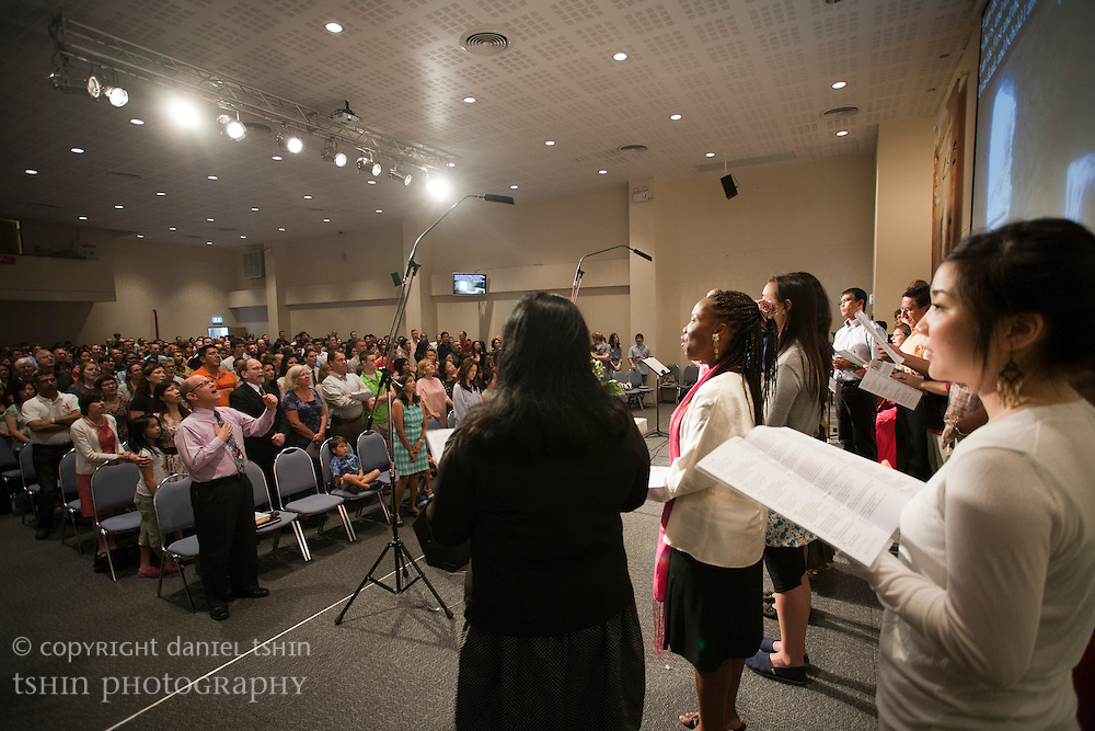 A view of the congregation from the stage at the Evangelical Church of Bangkok (ECB) during the Easter service on 24 April 2011 in Bangkok, Thailand