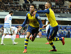 Arsenal's Santi Cazorla celebrates his goal with Arsenal's Kieran Gibbs - Photo mandatory by-line: Dougie Allward/JMP - Mobile: 07966 386802 - 04/03/2015 - SPORT - football - London - Loftus Stadium - Queens Park Rangers v Arsenal - Barclays Premier League