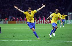 Kaka Celebrates Scoring 1st goal with team nmate Ronaldinho.Brazil World Cup 2006.Brazil V Croatia 13/06/06 Group F.World Cup 2006.