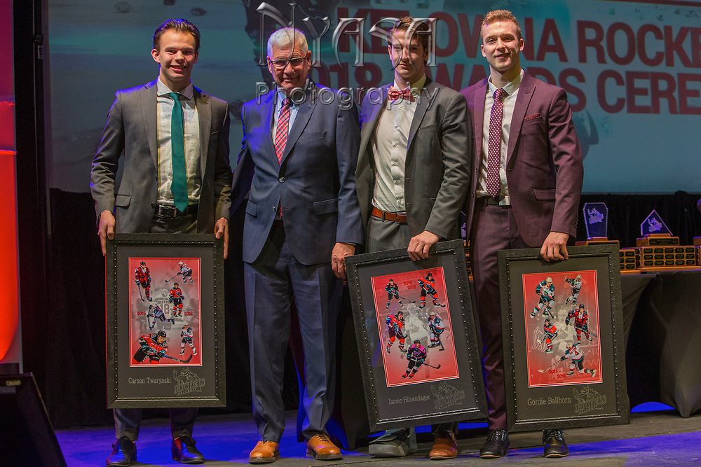 KELOWNA, CANADA - MARCH 18:  20 Year Olds Presentation to Carsen Twarynski, James Hilsendager & Gordie Ballhorn by Bruce Hamilton at the Kelowna Rockets Awards Ceremony on March 18, 2018 at The Kelowna Community Theatre  in Kelowna, British Columbia, Canada.  (Photo By Cindy Rogers/Nyasa Photography,  *** Local Caption ***