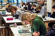 Nederland, Horst, 18-12-2007..VMBO onderwijs aan het Dendron college. De leerlingen in de klas zitten gebogen over hun boek..Foto: Flip Franssen/Hollandse Hoogte