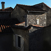 Rooftops in the village of Saint-Lizier, Pays Couserans, Ariege, Pyrenees, France.