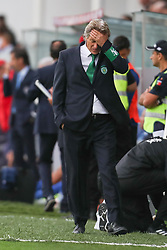 September 8, 2017 - Santa Maria Da Feira, Aveiro, Portugal - Sporting's Portuguese coach Jorge Jesus reacts during the Premier League 2017/18 match between CD Feirense and Sporting CP, at Marcolino de Castro Stadium in Santa Maria da Feira on September 8, 2017. (Credit Image: © Dpi/NurPhoto via ZUMA Press)