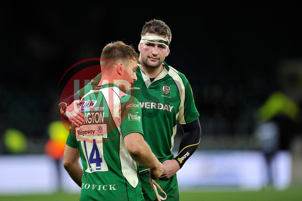 Matt Symons of London Irish commiserates with team-mate Alex Lewington - Mandatory byline: Patrick Khachfe/JMP - 07966 386802 - 28/11/2015 - RUGBY UNION - Twickenham Stadium - London, England - London Irish v Wasps - Aviva Premiership.