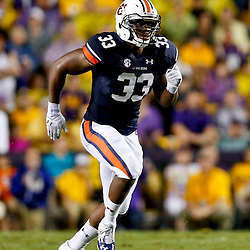 Sep 21, 2013; Baton Rouge, LA, USA; Auburn Tigers linebacker Kenny Flowers (33) against the LSU Tigers during the second half of a game at Tiger Stadium. LSU defeated Auburn 35-21. Mandatory Credit: Derick E. Hingle-USA TODAY Sports