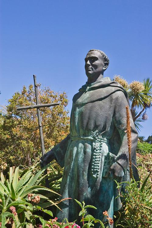 Statue of Father Junipero Serra at Mission San Carlos Borromeo del Rio Carmelo; Carmel, California.