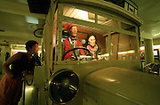 Museum Perrot-Moore. Surrealist painter Salvador Dali and his wife Gala as waxworks sitting in a vintage bus painted with ants, with which they used to pick up visiting friends at the railway station.