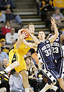 24 JANUARY 2007: Iowa guard Adam Haluska (1) and Penn State guard Danny Morrissey (33) fight for the ball in Iowa's 79-63 win over Penn State at Carver-Hawkeye Arena in Iowa City, Iowa on January 24, 2007.
