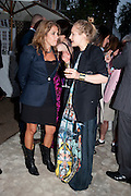 TRACEY EMIN; POLLY MORGAN, The Summer party 2011 co-hosted by Burberry. The Summer pavilion designed by Peter Zumthor. Serpentine Gallery. Kensington Gardens. London. 28 June 2011. <br /> <br />  , -DO NOT ARCHIVE-© Copyright Photograph by Dafydd Jones. 248 Clapham Rd. London SW9 0PZ. Tel 0207 820 0771. www.dafjones.com.