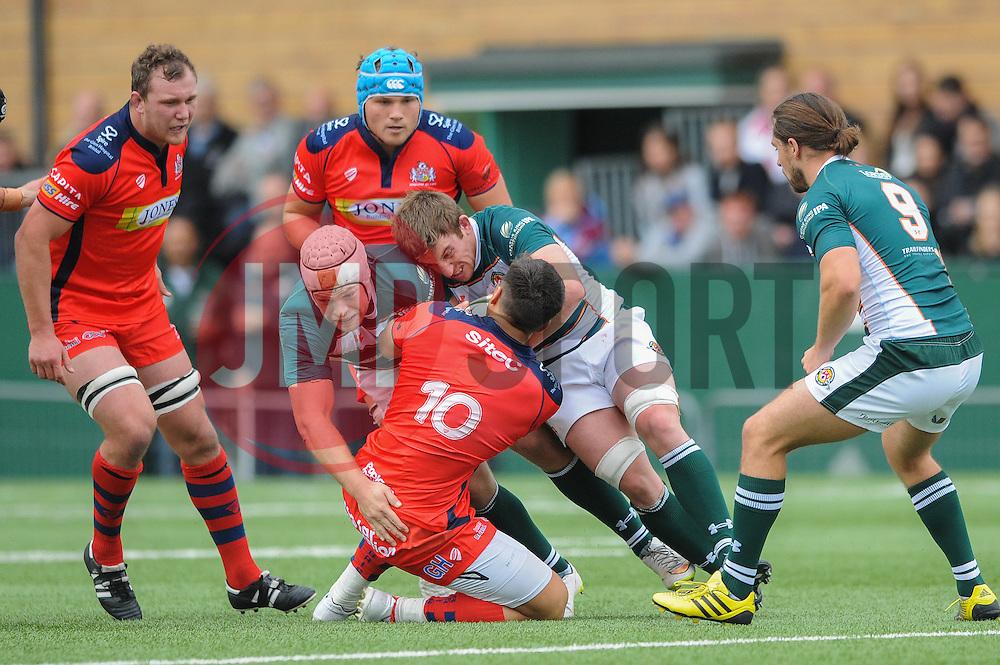 Bristol Rugby Fly-Half Gavin Henson is downed by Ealing Trailfinders Daniel Kenny - Mandatory byline: Dougie Allward/JMP - 07966386802 - 10/10/2015 - RUGBY - Vallis Way -West Ealing,England - Ealing Trailfinders v Bristol Rugby - Greene King IPA Championship