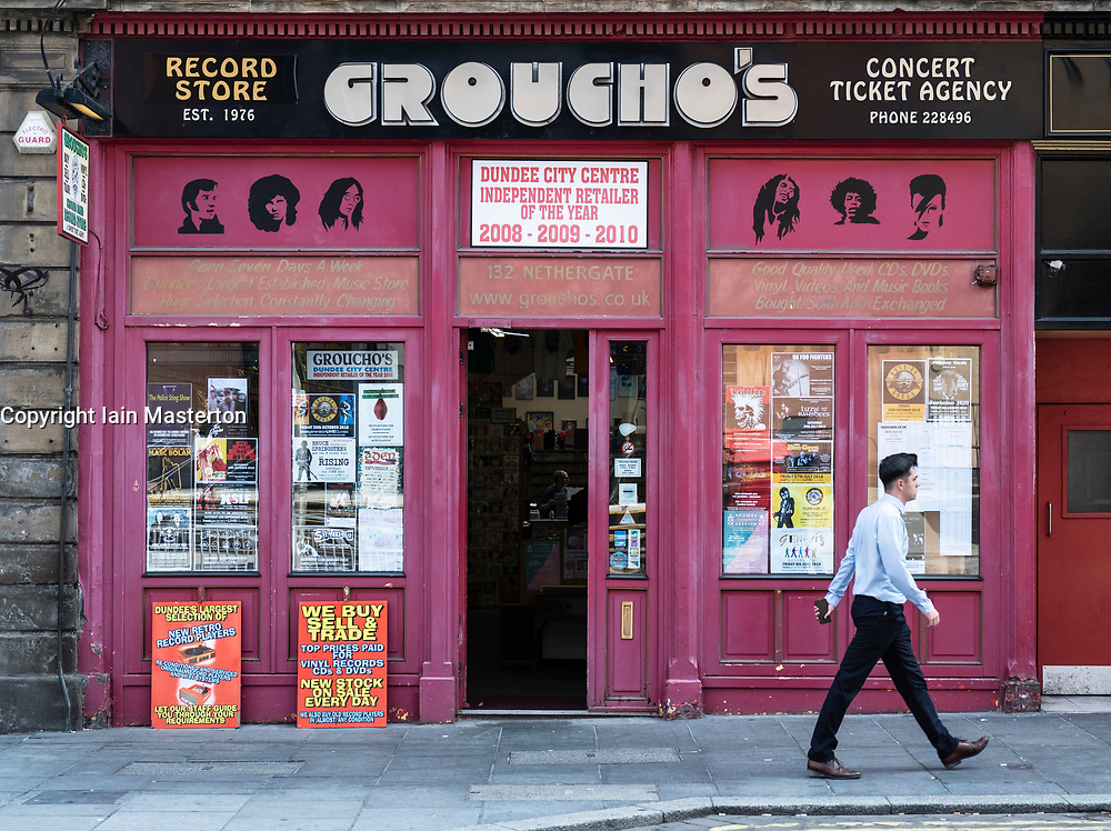 Exterior of Groucho's second hand record shop in Dundee, Scotland, UK