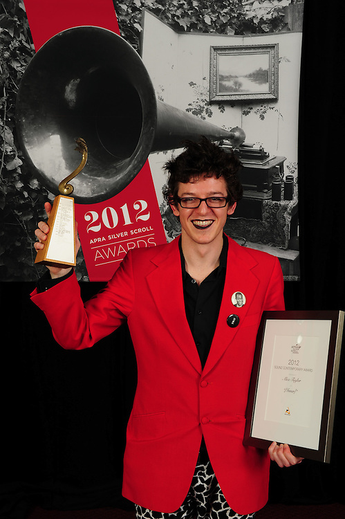 Alex Taylor, winner of the Sounz Contemporary Award at the APRA Silver Scroll Awards 2012. Auckland Town Hall. 13 September 2012.