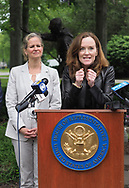 Hempstead, New York, USA. May 30, 2019. At podium, U.S. Representative KATHLEEN RICE (NY-04) clenches her fists during her press conference to announce she's introducing Three Bills to Congress to combat Impaired and distracted Driving, and at left is Nassau County Executive LAURA CURRAN, who thanked Rep. Rice for her safe driving legislation. Congresswoman Rice announced the package of 3 bills - End Drunk Driving Act, the Prevent Impaired Driving Child Endangerment Act, and the Distracted Driving Education Act of 2019 - at the Drunk Driving Victims Memorial in Eisenhower Park.