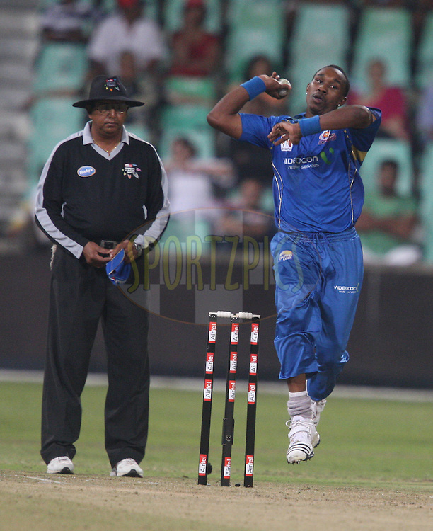 Dwayne Bravo during the match 7 of the Airtel CLT20 between The Mumbai Indians and The South Australian Redbacks held at Kingsmead Stadium in Durban on the 14 September 2010..Photo by: Steve Haag/SPORTZPICS/CLT20.