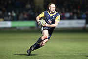 Jono Lance sets up a Warriors try during the Aviva Premiership match between Worcester Warriors and Sale Sharks at Sixways Stadium, Worcester, United Kingdom on 1 December 2017. Photo by Daniel Youngs.