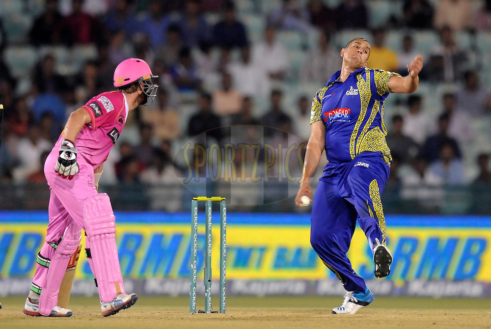 Rory Kleinveldt of Cape Cobras bowls during match 3 of the Oppo Champions League Twenty20 between the Cape Cobras and the Northern Knights held at the Chhattisgarh International Cricket Stadium, Raipur, India on the 19th September 2014<br /> <br /> Photo by:  Pal Pillai / Sportzpics/ CLT20<br /> <br /> <br /> Image use is subject to the terms and conditions as laid out by the BCCI/ CLT20.  The terms and conditions can be downloaded here:<br /> <br /> http://sportzpics.photoshelter.com/gallery/CLT20-Image-Terms-and-Conditions-2014/G0000IfNJn535VPU/C0000QhhKadWcjYs