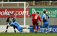 Photo: Chris Ratcliffe.<br />Leyton Orient v Wycombe Wanderers. Coca Cola League 2. 25/03/2006.<br />Paul Connor scores the winner for Leyton Orient