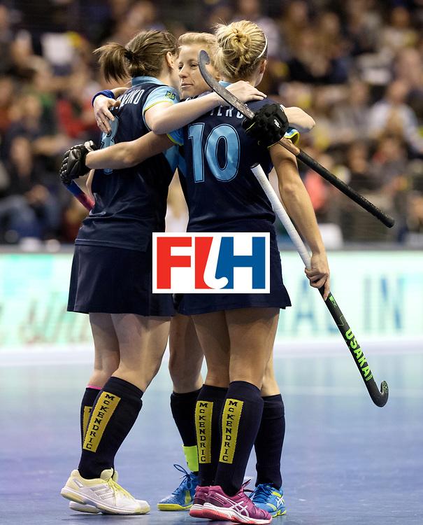 BERLIN - Indoor Hockey World Cup<br /> Quarterfinal 2: Ukraine - Switzerland<br /> foto: Ukraine celebrates.<br /> WORLDSPORTPICS COPYRIGHT FRANK UIJLENBROEK