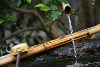 Chozubachi, water cleansing ritual basin with a bamboo spout and a dipper, depicting Japanese Wabi-Sabi aesthetics philosophy that finds beauty in natural aging and imperfection. Byodoin Buddhist temple in Uji, Kyoto Prefecture, Japan 2017