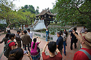 Chinese tour group visiting Chua Mot Cot (One Pillar Pagoda).