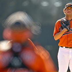 February 21, 2011; Sarasota, FL, USA; Baltimore Orioles starting pitcher Brian Matusz (17) during spring training at Ed Smith Stadium.  Mandatory Credit: Derick E. Hingle