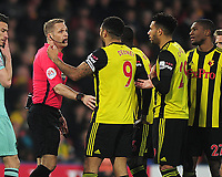 Football - 2018 / 2019 Premier League - Watford vs. Arsenal<br /> <br /> Troy Deeney of Watford is sent off by Referee,Craig Pawson, at Vicarage Road.<br /> <br /> COLORSPORT/ANDREW COWIE