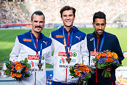 August 12, 2018 - Berlin, GERMANY - 180812 Silvermedalist Henrik Ingebrigtsen of Norway, gold medalist Jakob Ingebrigtsen of Norway and bronze medalist Morhad Amdouni of France at the medal ceremony for the men's 5000 meter during the European Athletics Championships on August 12, 2018 in Berlin..Photo: Vegard Wivestad Grøtt / BILDBYRÃ…N / kod VG / 170207 (Credit Image: © Vegard Wivestad GrØTt/Bildbyran via ZUMA Press)