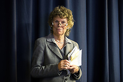 """© Licensed to London News Pictures . 25/05/2016 . Bolton , UK . KATE HOEY waiting to take to the stage to speak . Nigel Farage , Kate Hoey and Paul Nuttall at a """" We Want Our Country Back """" public meeting in favour of the UK leaving the EU at the Premier Suite of Bolton Wanderers' Macron Stadium . Photo credit : Joel Goodman/LNP"""
