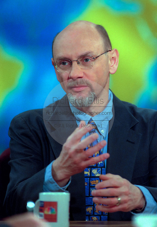 James Garbarino, an expert on childhood violence discusses the mass shooting at Columbine High School in Littleton, Colorado during NBC's Meet the Press April 25, 1999 in Washington, DC.