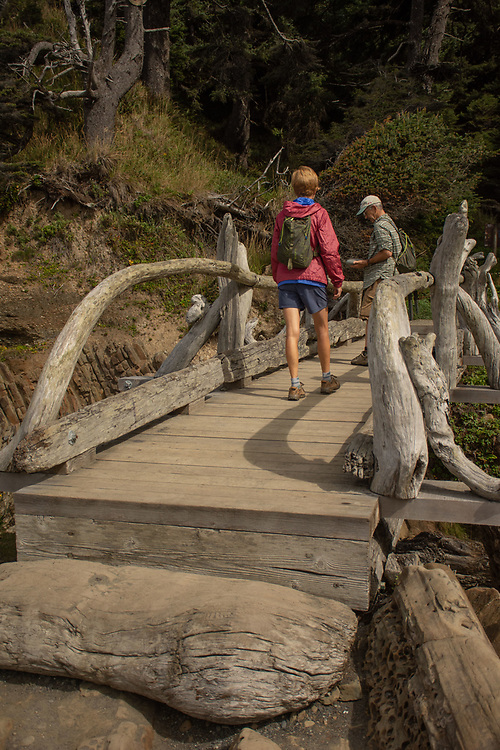 Hikers on Wooden Footbridge, Kalaloch Beach 4, Olympic National Park, Washington, US