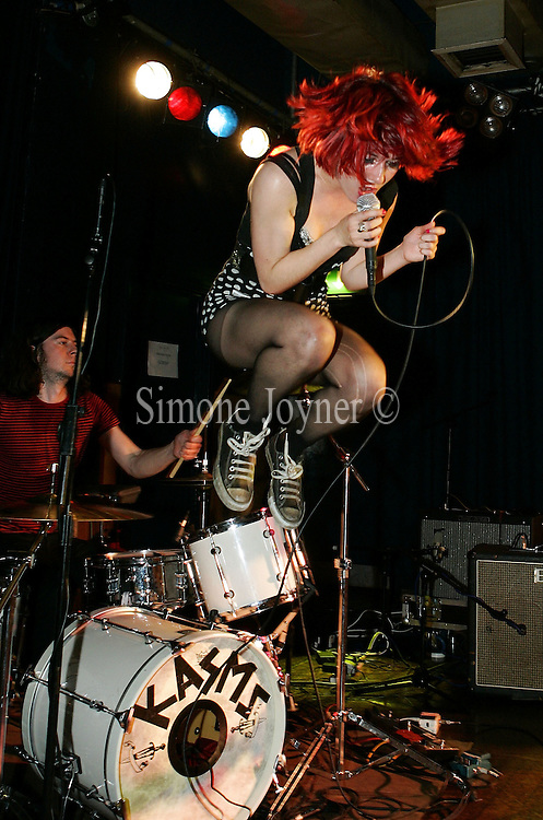 Rachel Mary Callaghan of British punk band Kasms performs live on stage at Scala on May 28, 2009 in London, England.  (Photo by Simone Joyner)