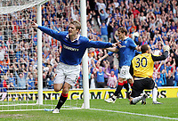 Football - Scottish Premier League - Rangers vs Hearts<br /> <br /> Rangers Steven Davies goal celebrations, during the Rangers vs Hearts Clydesdale Bank Premier league match at Ibrox Stadium