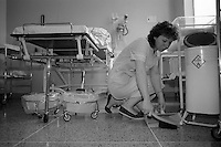 Domestic cleaning at Nether Edge Hospital, Sheffield.